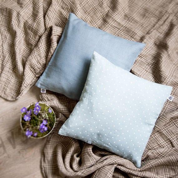 Blue throw pillows - pillow covers - blue linen decorative pillow - blue pillows - custom size pillow covers   0059