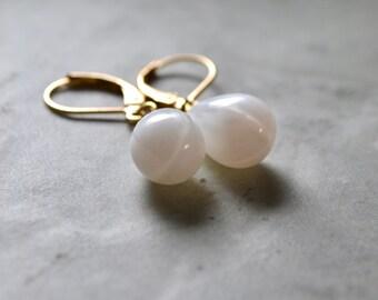 White Drop Earrings, White Opal Earrings, White & Gold Earrings, Tear Drop Earrings, Bridesmaid Gift Jewelry, Gold Leverback, UK shop