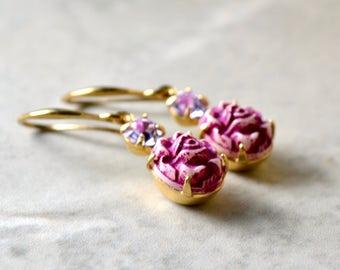Fuchsia Earrings, Pink Drop Earrings, Vintage Style Jewelry, Magenta Carved Bead Earrings, Oriental Jewelry, Prom Earrings, UK, Gift for Her