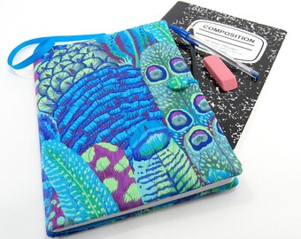 Composition Notebook Cover, Quilted Fabric Journal - Colorful Feathers in Blues, Greens, and Purples  School Notebook