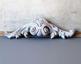 Vintage door header, wall ornament, architectural decor, shabby chic decor, wall decor ornament, grey decor