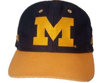 Vintage Michigan Wolverines snapback snap back style hat - Trucker Hat - Officially Licensed Collegiate Product