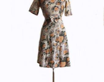 Vintage 60s floral print dress/ orange flowers on grey background/ handmade cotton summer dress/