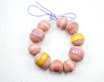 10 Handcrafted Ceramic Beads - Pastel - Unique Assortment - Earthy - Striped- Handmade - Round- Pottery beads - Brownstone - Bead Set Y468