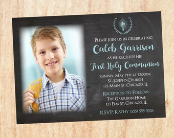 Boys First Communion Invitation DIGITAL photo 1st holy communion invite, printable party blue picture photograph