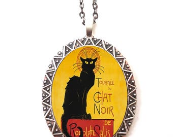 Chat Noir Necklace Pendant Silver Tone - Black Cat French Cabaret Art Nouveau