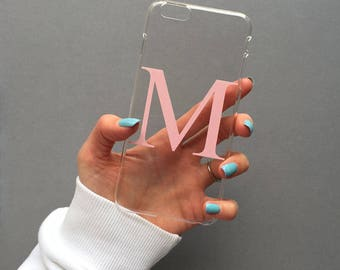 Clear and dusty pink alphabet phone case - Clear phone case, Samsung Galaxy S8 clear case, iPhone 7 PLUS clear case, clear alphabet case