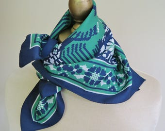 1960s square scarf, navy green scarf, Italian square scarf, rockabilly scarves,  made in Italy, retro headscarf, vintage scarves, mod