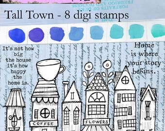 Tall Town - whimsical tall houses and shops - 8 digi stamp bundle in png and jpg files