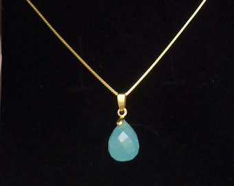 Teardrop faceted blue chalcedony quartz on gold plated necklace, birthstone pendant,