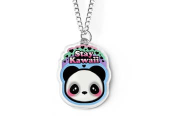 Stay Kawaii Panda Bear Necklace - Kei, Fairy Kei, Soft Grunge, Pastel Grunge