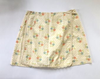vintage 60s skort pale yellow floral skirt 60s shorts with lace retro summer play jumper shorts peach floral aqua floral groovy shorts M
