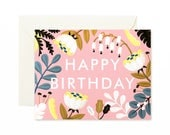 Forest Wildflowers Birthday Card - Blush -