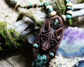 Wolf Spirit Animal Necklace with Turquoise, Handcrafted Clay.