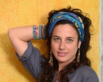 Blue Headband, Wide Headband, Bohemian Head Wrap, Boho Hair Accessories, Cotton Headband, Fabric Headband, Gypsy Headband, Hippie Headband