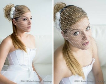 Birdcage veil with ribbon flowers, bridal veils and headpieces, bridal headpiece, birdcage veil wedding hair flower, wedding headpiece hair