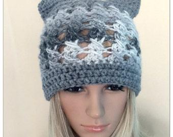 BUY1GET1HALFPrice Womens teens Cat ears handmade crochet beanie beret hat grey irish chunky lace holiday gift winter hat animal novelty hat
