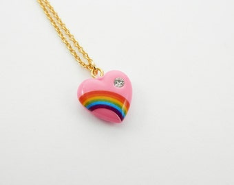 Pink Rainbow Heart Necklace
