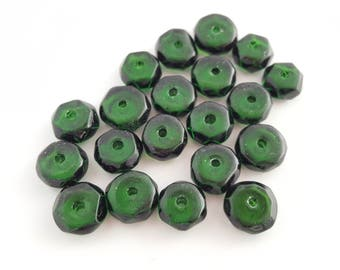 Dark Green Faceted Czech Glass Discs   Jewelry Supplies   Earring Pairs   Bead Stitching   Sewing Crafts   The Blue Hutch