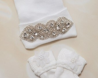 Newborn Girl Hospital Baby Hat Rhinestone Hat and Socks Set Baby Girl Newborn Set Newborn Baby Girl Hospital Hat