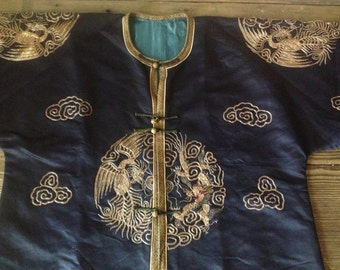 Chinese Blue Silk Kimono Elaborate Embroidery of Dragons Birds Insects Gold Metallic Thread