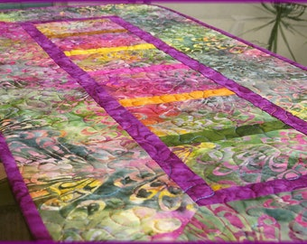 Quilted Table Runner Quilt Tonga Fig Batik 604