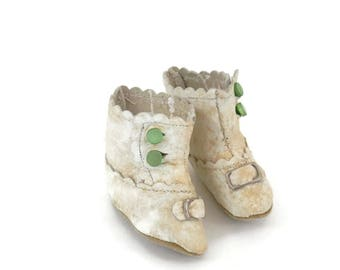 Antique Doll Shoes Victorian White Leather Booties with Green Buttons