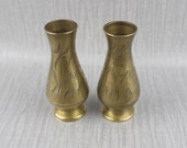 Pair of Vintage Small Solid Brass Ornate Vases Fluted Shaped Ornamental Leaf Pattern