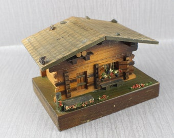 Vintage Swiss Cottage Musical Trinket Box Music Box Movement Wooden House