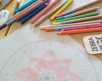 A Printable Jewish Floral Harmony Mandala-Star Of David-Hebrew Blessing Letters-Coloring Page Template Print -INSTANT DOWNLOAD by @zebratoys