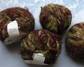 DESTASH - One Skein of Trendsetter Yarns Vintage 4385 Dye Lot 7004 Never Used Made in Italy Greens, Browns, Purples Fall Colors
