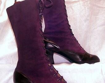 Gorgeous Purple Lace Up 1960s Mod Psych Boots