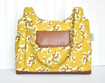 Yellow Floral Iris Pleated Purse with PU Faux Leather Spring Summer Bag with Cell Phone Pocket