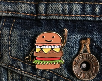 Burger pin! CB (cheese burger) on a cool enamel pin for all those burger lovers/ foodies / food lovers/ Flaunt your love for food/ junk food