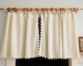 PAIR Natural Pom Pom Ball Cafe Curtains Panels Off White