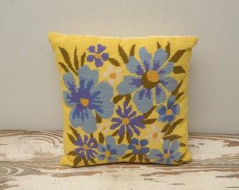 Vintage Embroidered Throw Pillow Needlepoint