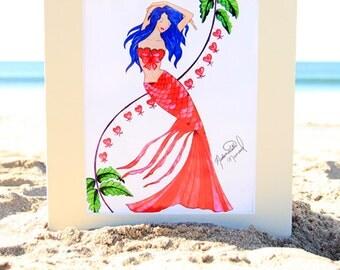 Mademoiselle Mermaid Art Print - Valentine's Day Mermaid Fashion Illustration - Beach House Decor - 4x6, 5x7, or 8x10 Fantasy Artwork