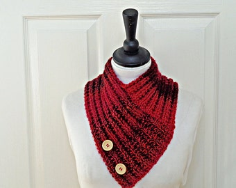Red neckwarmer, knitted red cowl, Winter cowl, Winter accessories, women's cowl, cowl with button, uk neckwarmers, ladies neckwarmer