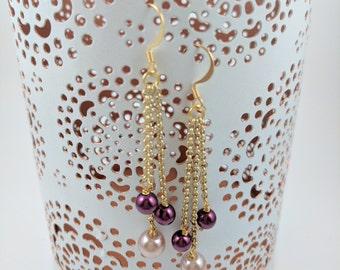 Burgundy and Pink Pearl Gold Chain Earrings, Long Earrings