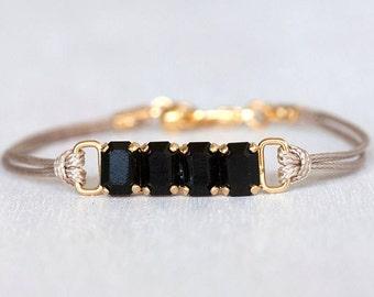 Swarovski Bracelet, Swarovski Crystal Bracelet, Crystal Bracelet, Swarovski Elements Bracelet, Cord Bracelet Cotton Bracelet, Women Bracelet