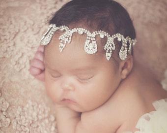 New! Jewel headband Gorgeous Crystal Stone Headband Head Piece Newborn Photo Prop Wedding Photoshoots Newborn Headband
