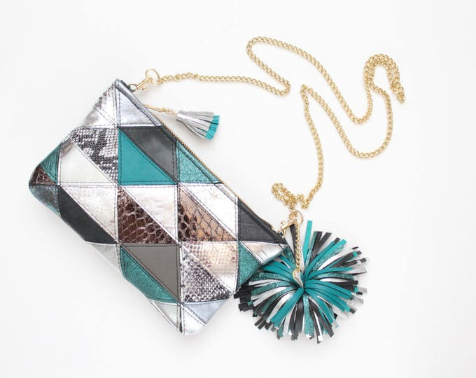 Small shoulder bag. Natural leather purse. Small statement purse. Crossbody bag. Geometric bag. Oversized tassel. Teal bag. /SMALL EDGY