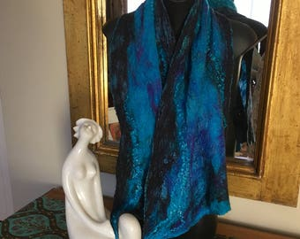 Midnight Sky Wrap Scarf Silk and Merino Wool