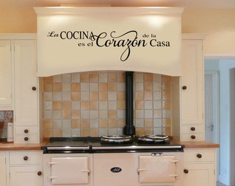 SPANISH The Kitchen is th heart of the home  Vinyl Wall Decal - Large Size Options Wall quotes