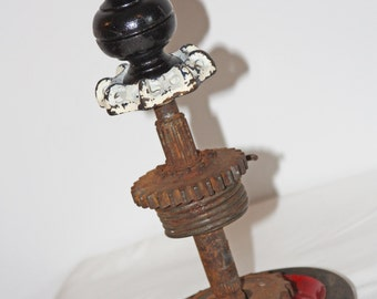 Steam Punk Finial Sculpture - Upcycled Art - Wood Clock Finial, Water Valve, Engine Parts, Wagon Wheel Repurposed!