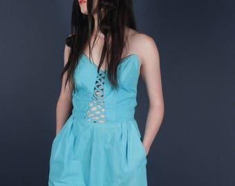 70's Fantastic Turquoise Sweetheart Romper