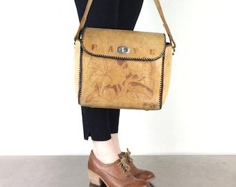 Large Leather Bag Vintage Faye Tooled Purse