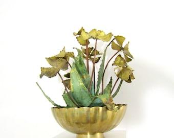 Vintage Brass Brutalist Flower Arrangement in Brass Bowl