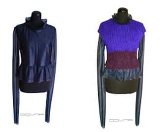 Purple sleeveless short sweater vest, top with Long sleeves sewn separate under part deep blue Purple two piece set west sweater