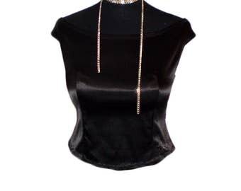 Black  satin slim  top blouse of shoulder prom party wedding top